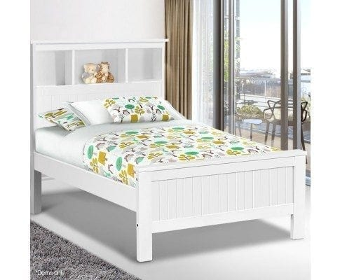 King Single Wooden Bed Frame with Storage